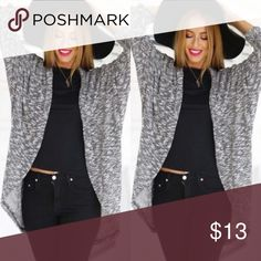 Black & Gray Cardigan •Size Large (fits a medium as well!) •Condition: 9/10, like new.  •Worn once!   *Purchased only to wear to a party.* •Can dress it up or down! *Sweater has full length arms!* Sweaters Cardigans