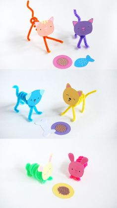 Super Sweet and Simple DIY Pet Pals ⋆ Handmade Charlotte - Posable Pet Pals…free printables… Posable Pet Pals…free printables… Posable Pet Pals…free - Animal Crafts For Kids, Craft Projects For Kids, Crafts For Kids To Make, Kids Crafts, Craft Activities, Preschool Crafts, Diy Pet, Pipe Cleaner Crafts, Pipe Cleaners