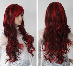 NEW fashion lady's Popular NEW Hot Long Mix Black&Red lady's Cosplay Wig