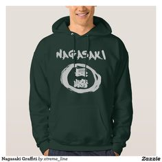 Nagasaki Graffiti Kanji Hooded Pullover. Japanese Themed Apparel.