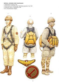 Paracaidistas del Ejercito Imperial japones 1: Paracaidista durante el entrenamiento, 1941 2: Paracaidista, 2do Regimiento de Asalto, Operacion Palembang, febrero de 1942 3: Oficial paracaidista en medio de una misión, 1942 4 y 5: Insignias de paracaidistas del Ejercito