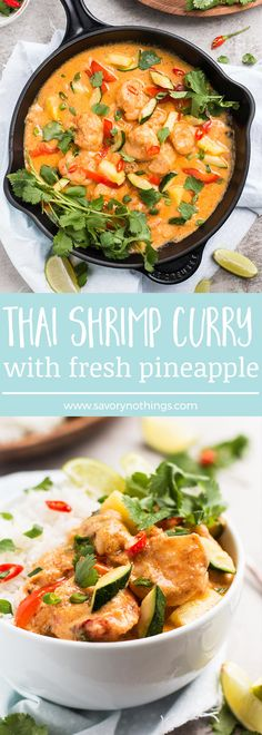 Quick Thai Shrimp Curry with Pineapple: vegetables and shrimp are cooked with a delicious coconut curry sauce, then served with fresh pineapple!
