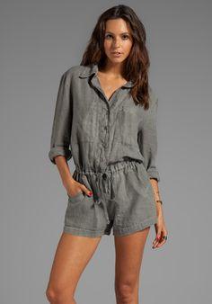 Enza Costa Long Sleeve Linen Romper in Gray in Gray (Carbon)