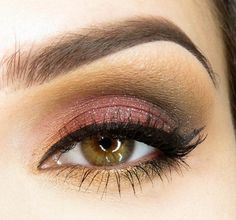 Burgundy, Black, and Gold Smokey Eye (great for blue and green eyes)