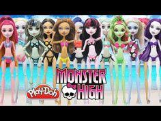 Play Doh 12 Monster High Dolls Frankie Stein Draculaura Clawdeen Wolf Lagoona Blue Gigi Swimsuits - YouTube
