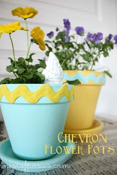 Chevron flower pots