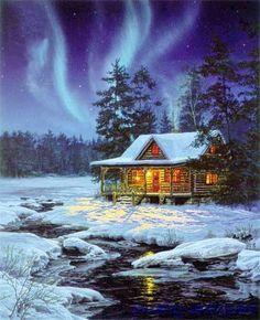 """Thomas Kinkade Christmas Scenes   ... about Thomas Kinkade Oil Painting """"Christmas Snow Scenes"""" 36""""×24"""