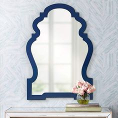 Cooper Classics Reba Cobalt 26 Inch X 38 Inch Wall Mirror Mirror Lamp, Dresser With Mirror, Wall Mirror, Starburst Mirror, Blue Wall Decor, Living Room Redo, Shield Design, Blue Mirrors, Painted Floors
