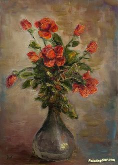 Red Roses Artwork by Marcel Dyf Hand-painted and Art Prints on canvas for sale,you can custom the size and frame
