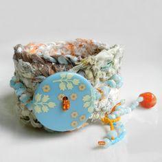 Boho Bracelet Cuff Aqua and Orange Hippie Jewelry. $38.00, via Etsy.