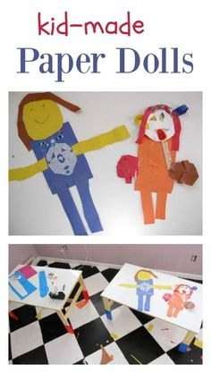 Kid Made Paper Dolls - a paper collage art project for children