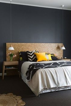 Wooden makeshift headboard will go with every colour scheme | The best interior DIY projects | Go to http://www.redonline.co.uk for more fun and stylish decorating hacks like this