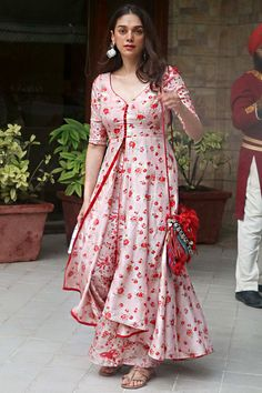 Aditi Rao Hydari in a pastel pink designer sharara set paired with chunky silver earrings. Sharara Designs, Kurta Designs Women, Kurti Designs Party Wear, Pakistani Dress Design, Pakistani Dresses, Indian Dresses, Indian Outfits, Simple Kurti Designs, Stylish Dress Designs
