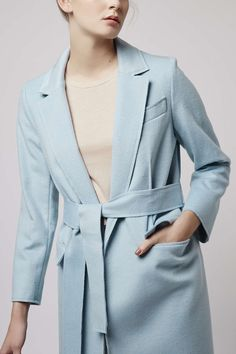 Invest in this indulgent cashmere-mix wrap coat, by Boutique. We love the cool colours, wrap style and tie belt, making this piece an AW must-have. Featuring a chic oversized lapel. #Topshop