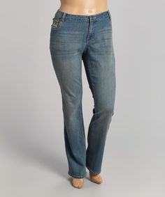 Love this Medium Dark Blue Embroidered Straight-Leg Jeans - Plus by BACCINI on #zulily! #zulilyfinds