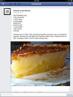 Buttermilk Pie/ excellent recipe..