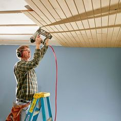 The T&G you'll find at home centers and lumberyards is or spruce. Other wood plank ceiling options and shiplap ceiling can be ordered Wood Plank Ceiling, Shiplap Ceiling, Wood Ceilings, Wood Planks, Bead Board Ceiling, Drywall Ceiling, Wood Paneling, Ceiling Fans, Wood On Ceiling Ideas