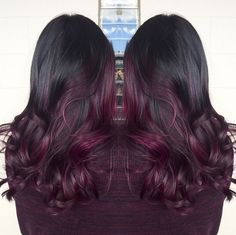 50 Purple Hair Color Ideas for Brunettes You Will Love in Purple hair color ideas for brunettes is in, ladies! When work comes to hair color ideas which can truly flatter any skin tone, purple hair colors are. Fall Hair Colors, Hair Color Purple, Hair Color And Cut, Color Red, Burgundy Color, Black To Purple Hair, Brunette Fall Hair Color, Ombre Hair Color For Brunettes, Ombré Hair