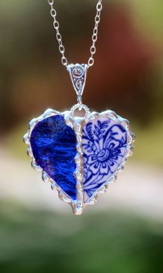 Broken China Jewelry, Patchwork Heart Pendant Necklace, Blue Transferware, Blue Stained Glass, Sterling Silver