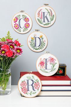 Floral Monogram Embroidery Kit Personalized by MiniatureRhino