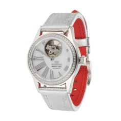 Women's Automatic Sellita SW200 Diamond (0.30 ct) Watch in Silver Tone & Red (MARVIN02 1104007)