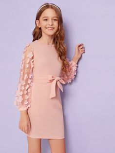 Girls Appliques Mesh Sleeve Self Belted Dress Check out this Girls Appliques Mesh Sleeve Self Belted Dress on Shein and explore more to meet your fashion needs! Girls Summer Outfits, Dresses Kids Girl, Cute Dresses, Kids Outfits, Preteen Girls Fashion, Girls Fashion Clothes, Kids Fashion, Fashion Outfits, Kids Dress Wear