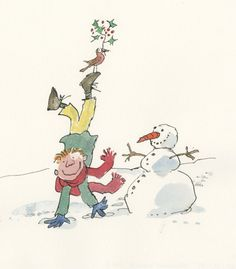 Quentin Blake, Illustration, Pencil and watercolors Quentin Blake Illustrations, Vintage Illustration Art, Roald Dahl, Christmas Art, Character Design, Cartoon, Tony Ross, Drawings, Jingle Bells