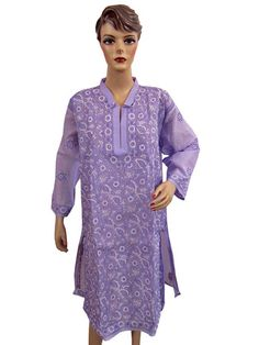 Designer Long Embroidered Kurti Dress Kameez Purple Blouse Cotton Tunic Tops 2XL | eBay $34.99