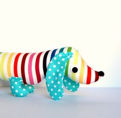 Rainbow Wiener Dog, Stuffed Dachshund, PIP is an adorable gift for kids and babies by Friends of Socktopus on etsy