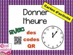 Donner l'heure - cartes d'activité - avec des codes QR Telling Time - task cards with QR codes $ #French #Francais