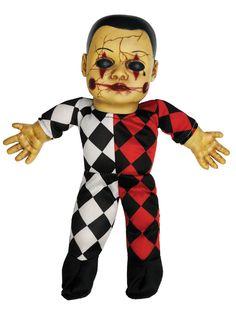Schaurige Horror-Puppe Harlekin mit Sound Halloween Dekofigur bunt 37x20x11cm. Aus der Kategorie Halloween Partydeko / Halloween-Dekofiguren. Wenn diese gruselige Horror-Puppe im Raum liegt, kriegt auch der Mutigste wohl kaum mehr ein Auge zu! Spätestens dann, wenn die Halloween-Puppe zu sprechen beginnt, dürfte aber auch der Unerschrockenste hellwach im Bett sitzen!