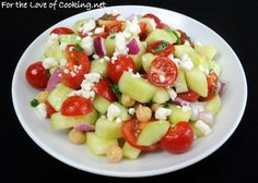 For the Love of Cooking » Cucumber and Tomato Salad with Garbanzo Beans and Basil