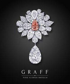 Pink Flower Brooch by Graff Diamonds. A myriad of the finest white diamonds scintillate around the central 8.97 carat Fancy Vivid Pink pear shape diamond, to form a flower in bloom. A notable 38.13 carat D Flawless pear shape diamond, hand crafted with a minimal platinum setting to accentuate the luminosity of the stone, cascades elegantly from the central motif.