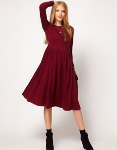 ASOS Midi Dress With Long Sleeve  $47.68  This midi dress by ASOS Collection has been crafted from a stretch cotton jersey. The details include: a round neckline, long sleeve styling, a high waist and a flared skirt with soft pleating and a midi-cut length. The dress has been cut with a regular fit.