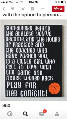 "Hand painted canvas ""Somewhere behind the athlete."" Mia Hamm quote with the option to personalize colors and size. I would make the basketball a volleyball tho. Basketball Is Life, Basketball Teams, Basketball Motivation, Girls Basketball, Soccer Ball, Basketball Outfits, Basketball Sayings, Basketball Gifts, Motivational Basketball Quotes"