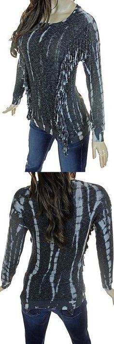 Women Fashion: T-Party Black And Off White Fringed Soft Long Sleeve Sweater Top New -> BUY IT NOW ONLY: $32.95 on eBay!