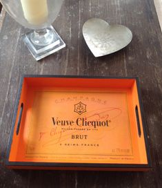 Veuve Cliquot, Glass Tray, Logo Color, Champagne, Vintage, Classic, Handmade, 30th Birthday, Champs
