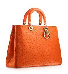 "DIORISSIMO - Orange ostrich ""Diorissimo"" bag with mandarin inside."