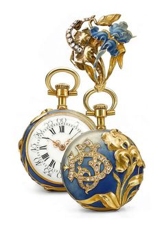 A YELLOW GOLD, ENAMEL AND DIAMOND-SET ART NOUVEAU OPEN-FACED KEYLESS LEVER PENDANT WATCH WITH BROOCH AND ADDITIONAL CHAIN LOOP ATTACHMENT CIRCA 1910.