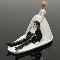 Marriage Funny Polyresin Figurine Wedding Cake Toppers Bride Groom Decor at Banggood