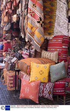 Goods in the Souks in the Medina, Marrakech, Morocco, North Africa, Africa Moroccan Design, Moroccan Decor, Moroccan Style, Medina Marrakech, North Africa, Textiles, Decoration, Throw Pillows, Inspiration