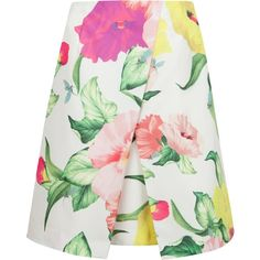 Ted Baker Isabeli Floral Printed Skirt, Cream found on Polyvore