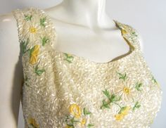 Yellow Floral Beaded Cocktail Dress circa 1960s - Dorothea's Closet Vintage