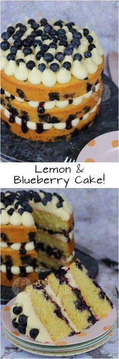 Lemon & Blueberry Cake!! A Three-Layer Fresh Lemon & Blueberry Cake with Lemon Sponges, Fresh Blueberries, Lemon Buttercream, and Blueberry Jam!