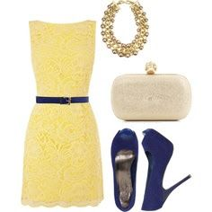 Perfect buttercream yellow lace dress, perfectly accented with navy blue belt and pumps. Definitely a must have for the next wedding invite.