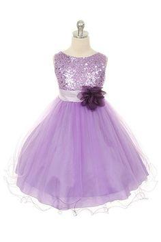 New Girls Lilac Fancy Dress Christmas Party Flower Girl  #Dress