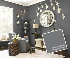 My Top 10 Benjamin Moore Grays Ballard Designs: Stormy Sky Benjamin Moore. I love this color, but the room is too small. Maybe an accent? Grey Paint Colors, House Colors, Living Room Paint, Living Room Grey, Bedroom Paint Colors, Paint Colors For Living Room, Home Decor, Bedroom Colors, Remodel Bedroom