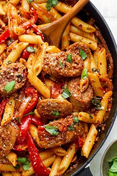 Sausage Pasta Skillet — A quick and easy skillet meal with incredible flavor, perfect for weeknight dinners with family. Sausage Pasta Skillet — A quick and easy skillet meal with incredible flavor, perfect for weeknight dinners with family. Sausage Recipes For Dinner, Sausage Pasta Recipes, Italian Sausage Recipes, Easy Dinner Recipes, Quick Meals For Dinner, Sausage And Peppers Pasta, Sausage Meals, Italian Sausage Pasta, Food Dinners
