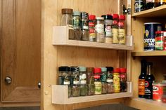 DIY spice rack on inside of cabinet door.   25 Best Ways to Organize Spices (Storage Solution) | Craftionary