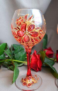 Купить Бокалы для вина Совершенство - Витражная роспись, роспись бокалов, бокалы для молодоженов, бокалы для свадьбы